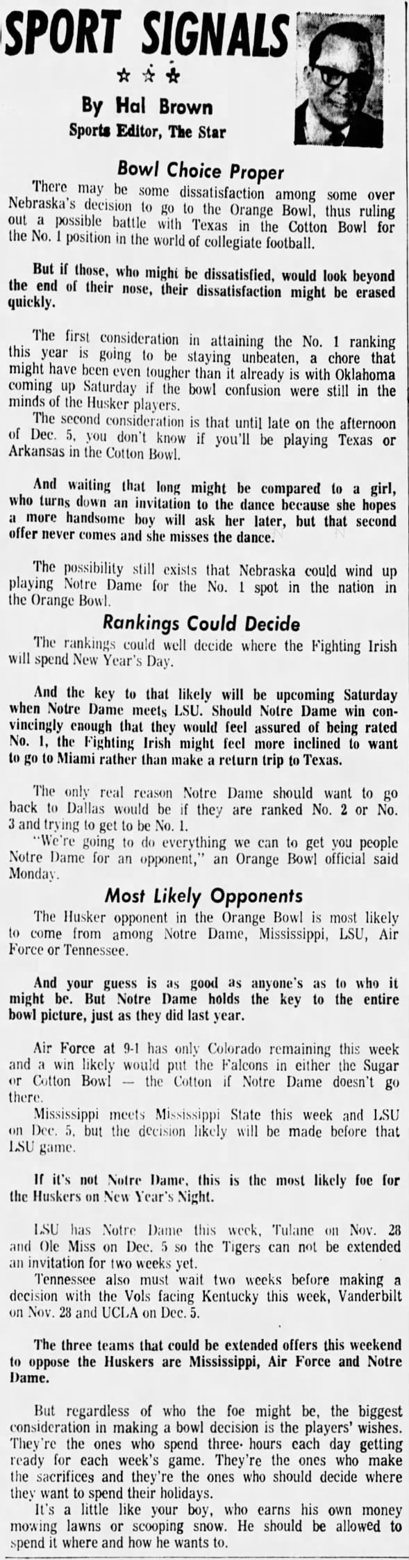 1971.11 Hal Brown on bowl choice