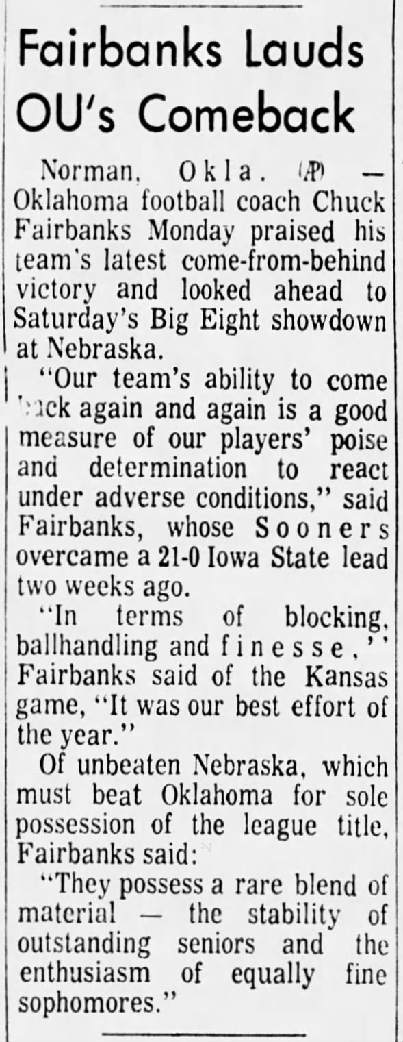 1970.11.16 Oklahoma Fairbanks comments Monday