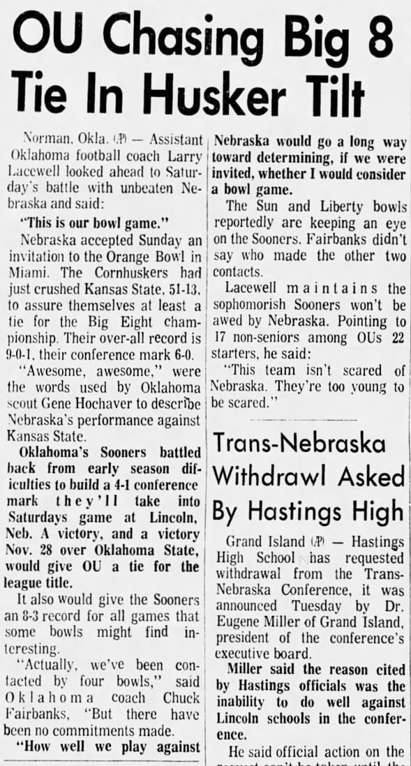 1970.11 Oklahoma comments, Fairbanks and Lacewell