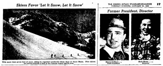 Picture of Monie DeHaan Past President, Ogden Standard-Examiner, 25 Jan 1949 - Sfcfers Favor 'Let It Snow, Let It Snow' THE...