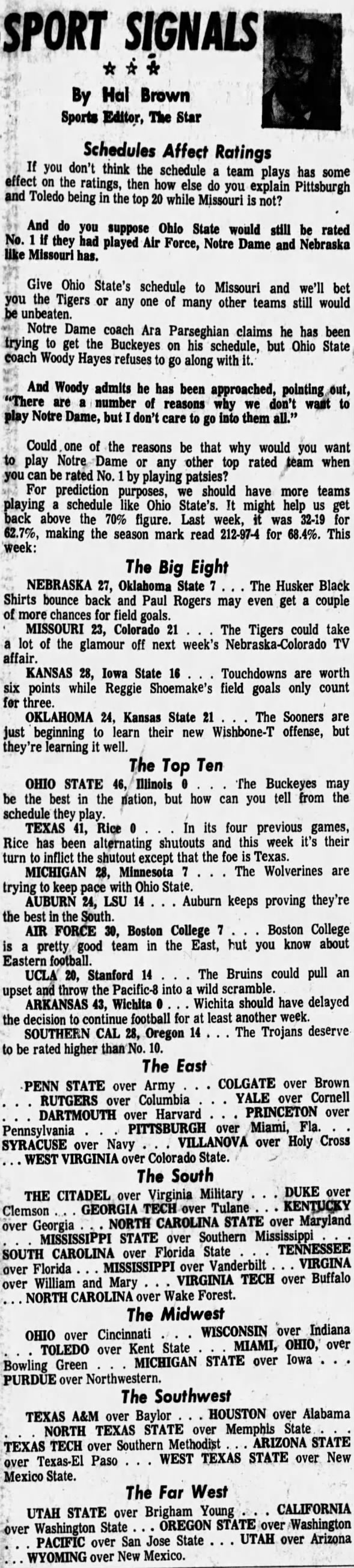 1970.10 Hal Brown, predictions for Okla. State week