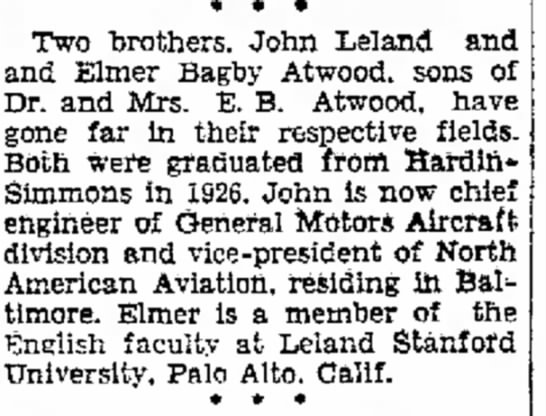 Lee and EB Atwood brothers in the news July, 1935 - Two brothers, John Leland and and Elmer Bagby...