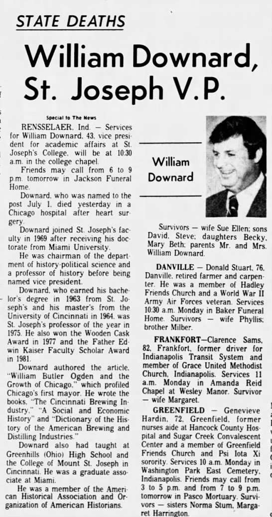 - STATE DEATHS William Downard, St. Joseph V.P....