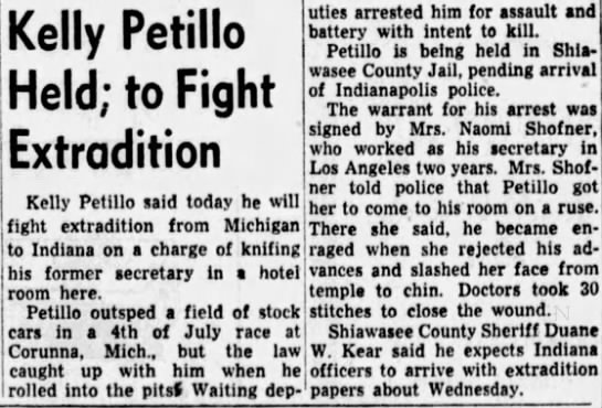 Indianapolis News, July 5 1948 - Kelly Petillo Held; to Fight Extradition uties...