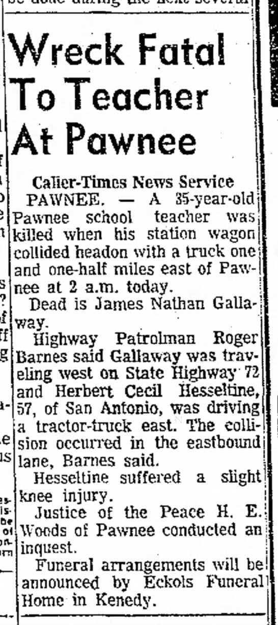 March 1966 - HC Hesseltine collides and kills teacher - taking of o pernicious disease be of Wreck...