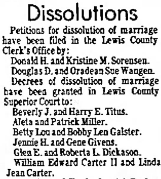 Petition for Dissolution of Marriage - 20 January 1976 - and was Dissolutions Petitions for dissolution...