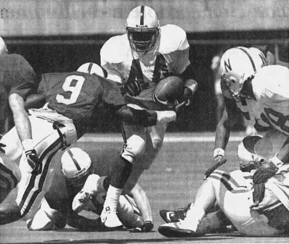 1991 spring game photo, Calvin Jones and Curtis Cotton