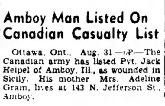 Jack - Amboy Man Listed On Canadian Casualty List...