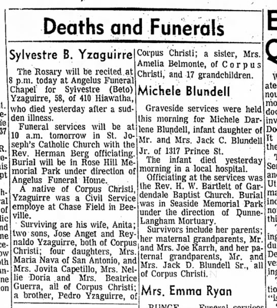 Sylvestre Charcas Yzaguirre - obit - Deaths and Funerals was re of the R his slept...