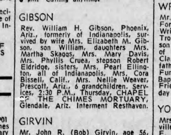 William Gibson obit--Indianapolis Star--1 Jun 1971 - of In 901 GIBSON Rev. William H. Gibson,...