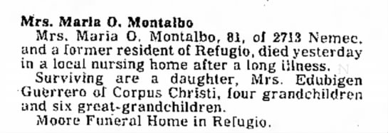 Mrs Maria O. Montalvo - a home. Mrs. Maria O. Montalbo Mrs. Maria O,...