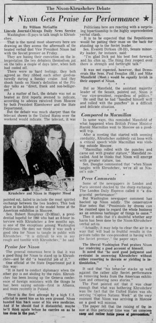 Nixon praised for interactions with Khrushchev - The Nixon-Khrushchev Nixon-Khrushchev...