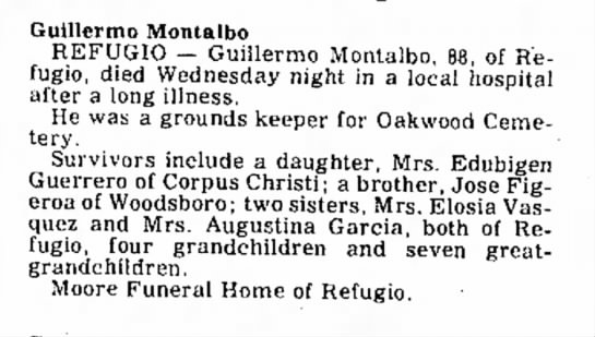 Guillermo Montalvo - obit - Lonnie maternal of Mrs! Guillermo Montalbo...