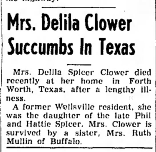 - Mrs. Delila Glower Succumbs In Texas Mrs....