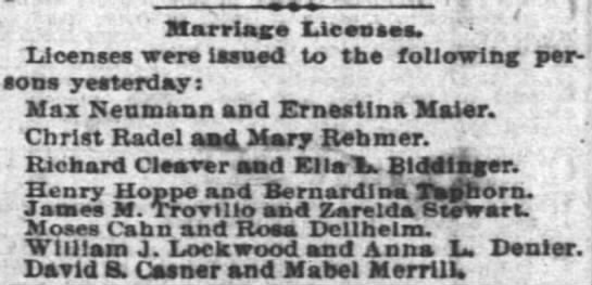 Application for Marriage Licenses - - ) Marriage Licenses. ' Lioenses were issued...