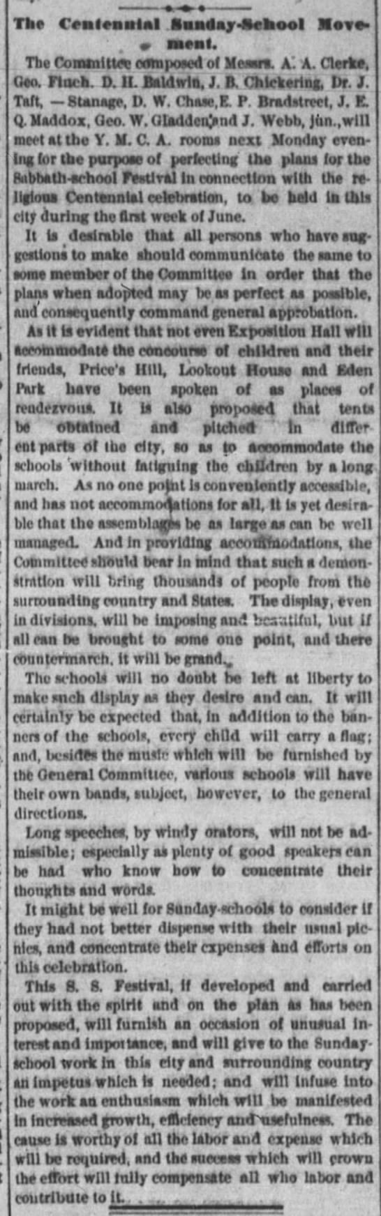 Cinti Enquirer - 15Apr1876 - The Centennial ftunday - ftcaool tlose - Ths...