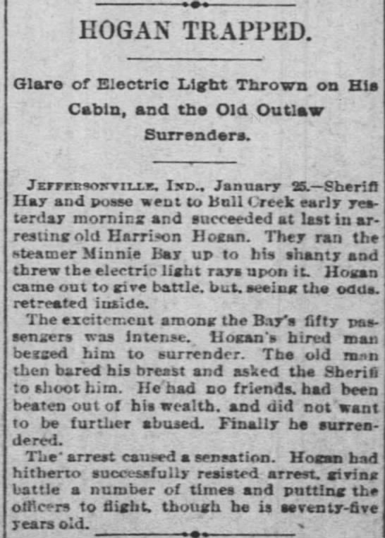 26jan1889cincyenquirer - HOG AN TRAPPED. Glare of Electric Light Thrown...
