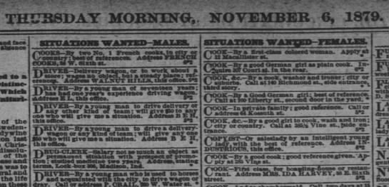 Interesting jobs for males and females Nov 6, 1879    Cincinnati Enquirer 6 Nov 1879