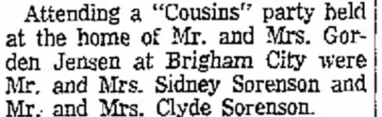 """- Attending a """"Cousins"""" party held at the home of..."""