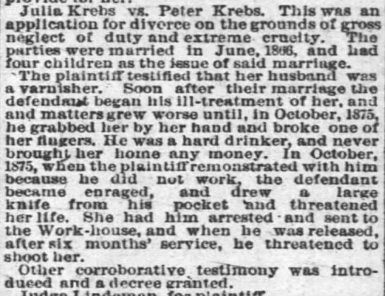 14 May 1880 - Julia Krebs vs. Peter Krebs. This was an...