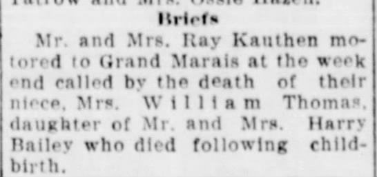 Kauthens motor to Grand marais for funeral - IlHef * Mr. and Mrs. Hay Kauthen motored...