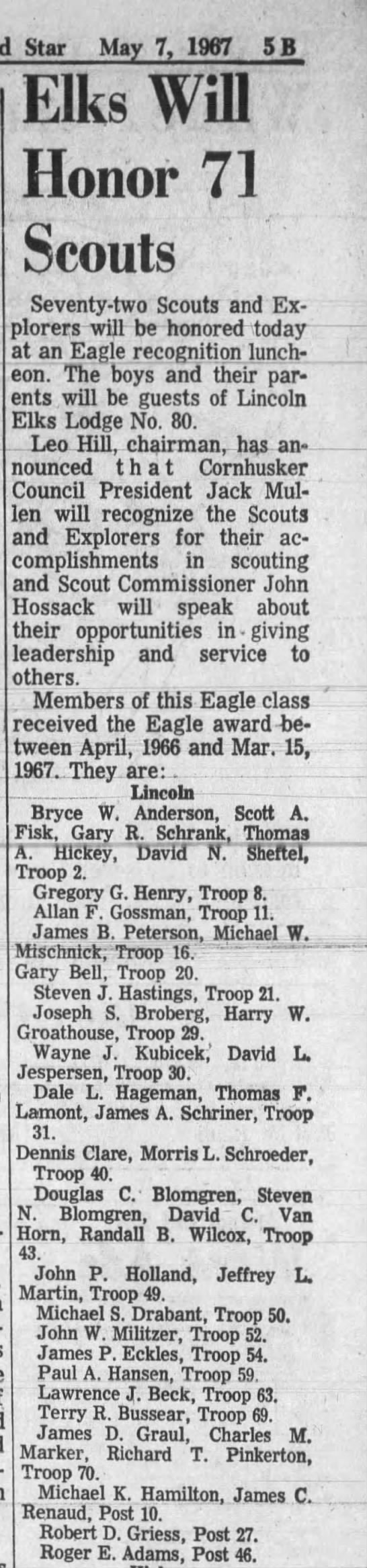 James D Graul, Elks Scout honor 7 May 1967 Lincoln Journal Star - Star May 7, 1967 5B Elks Will Honor 71 Scouts...