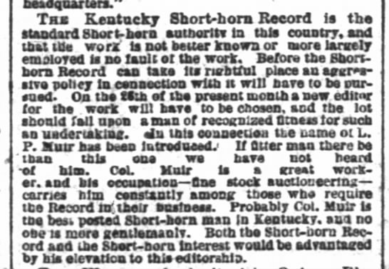 "The Courier-Journal, Louisville, KY: 18 July 1881; Pg 3. - ' headquArters."" Taa Kentucky Short-bora Record..."