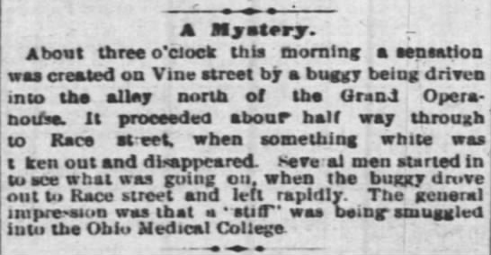 Cincinnati Enquirer item of May 30th, 1878. - A liyetery. About three o'clock this morning a...