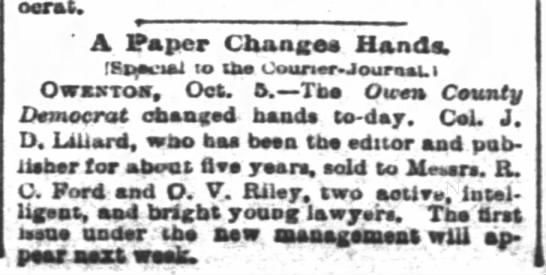 - Democrat. A Paper Change Hands. Special to tbe...