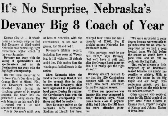 1970 Devaney Big Eight coach of the year
