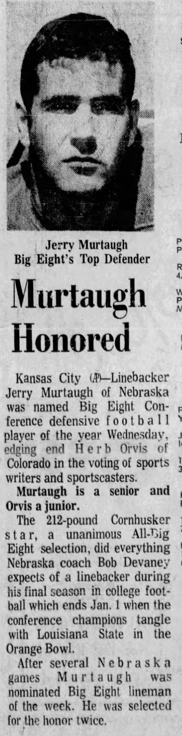 1970.12.09 Murtaugh Big Eight Defensive Player of the Year