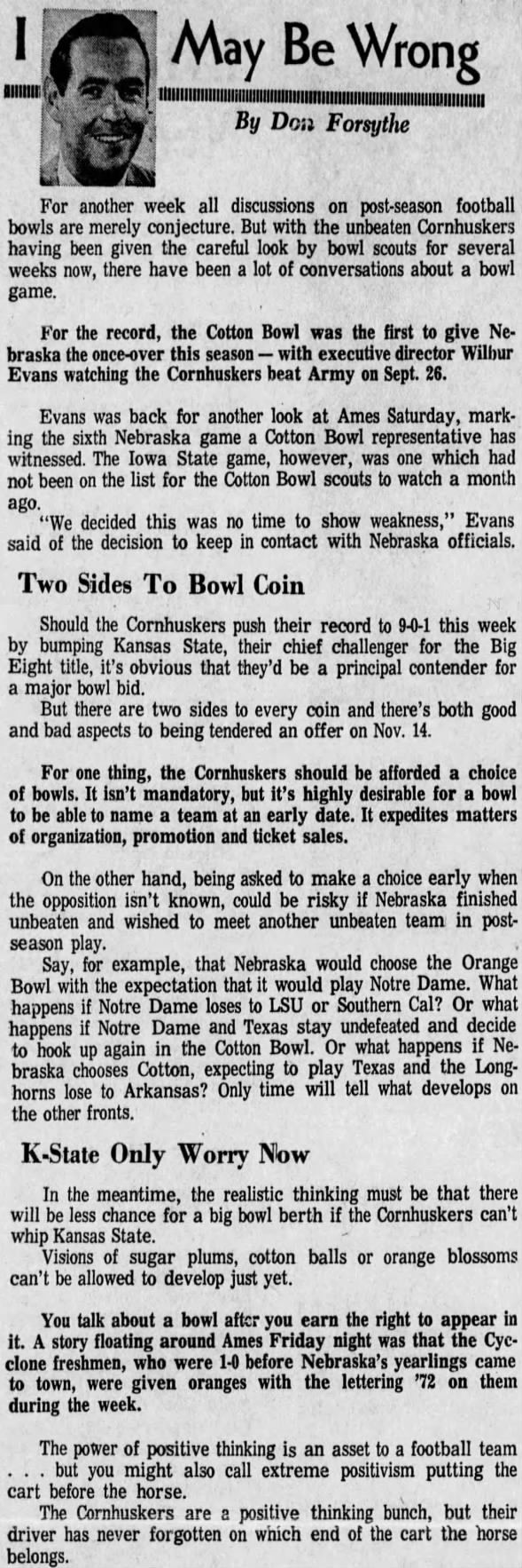 1970.11 Forsythe column, post-Iowa State