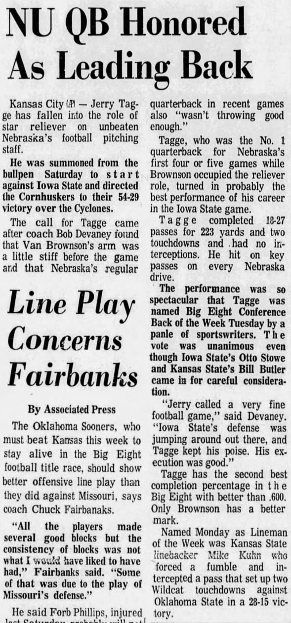 1970.11.10 Tagge named Big Eight Back of Week
