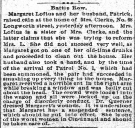 Enq 09Jul1884 - Battle Row. Margaret Loftos and her husband....