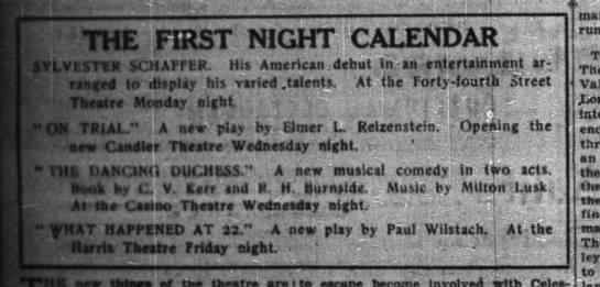 NY Times Aug 16 1914 Paul Wilstach - THE FIRST NIGHT CALENDAR VI. VI SILK 5CMAFFLR....