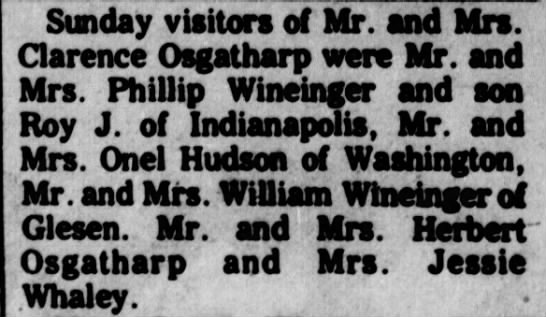 Clarence Osgatharp visitors on Sunday, April 28, 1971 - Sunday visitors of Mr. and Mrs. Clarence...