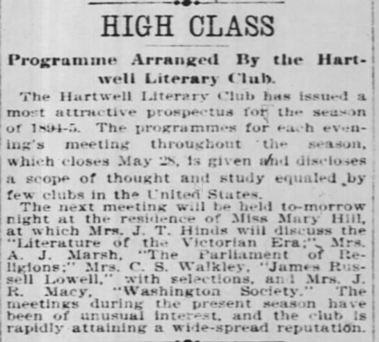 Literary club - HIGH CLASS Programme Arrnictl Ry tlie Hart-well...