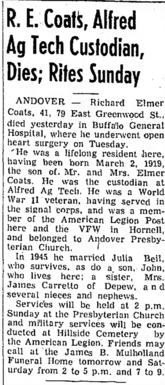 Julia Beil Coats Husband, died Feb 21 1961 - R. E. Coals, Alfred Ag Tech Custodian, Dies;...