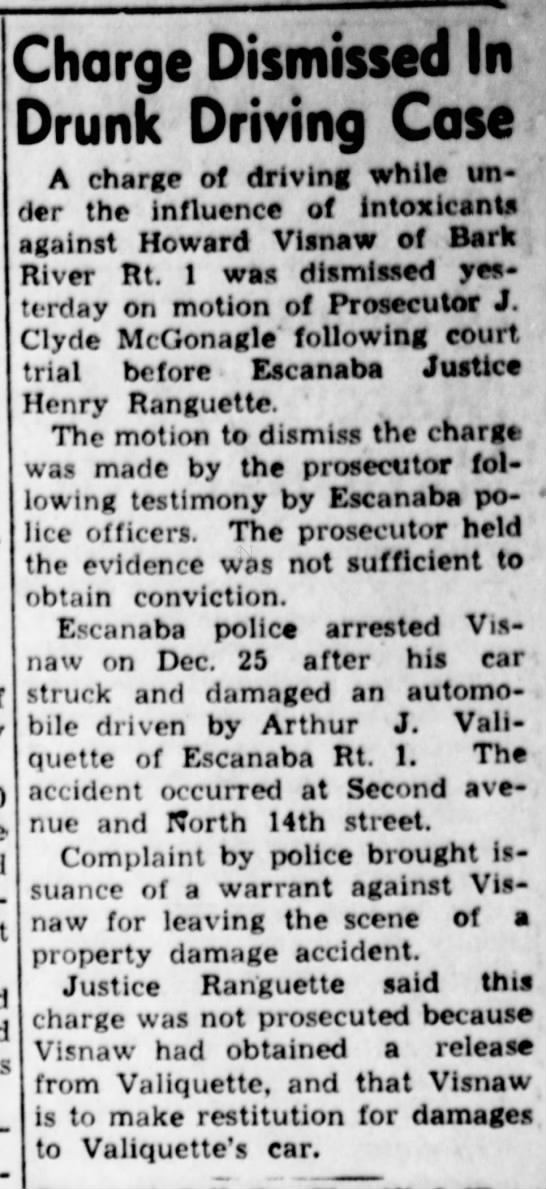 Howard Visnaw 1952 - Charge Dismissed In Drunk Driving Cose A charge...