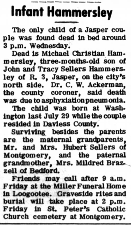 Traci Sellers Infant Hammersley - The only child of a Jasper cou- pie was found...
