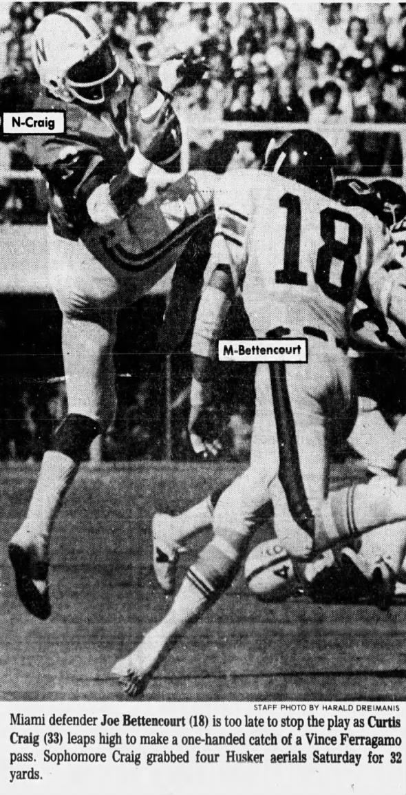 1975 Curtis Craig catch Nebraska vs Miami football