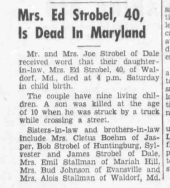 - Mrs. Ed Strobel, 40, Is Dead In Maryland Mr....