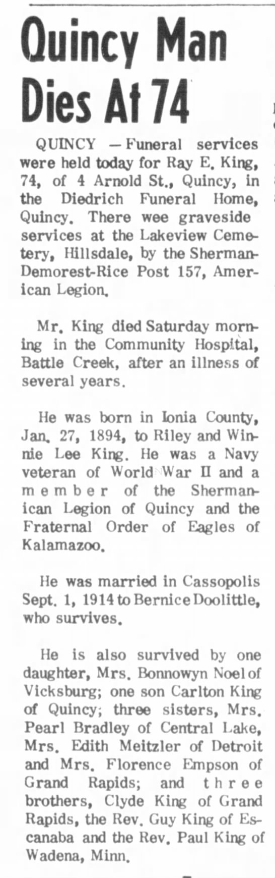 Death of Ray King, brother of Edith Meitzler (Fred's wife) - Oct 1968