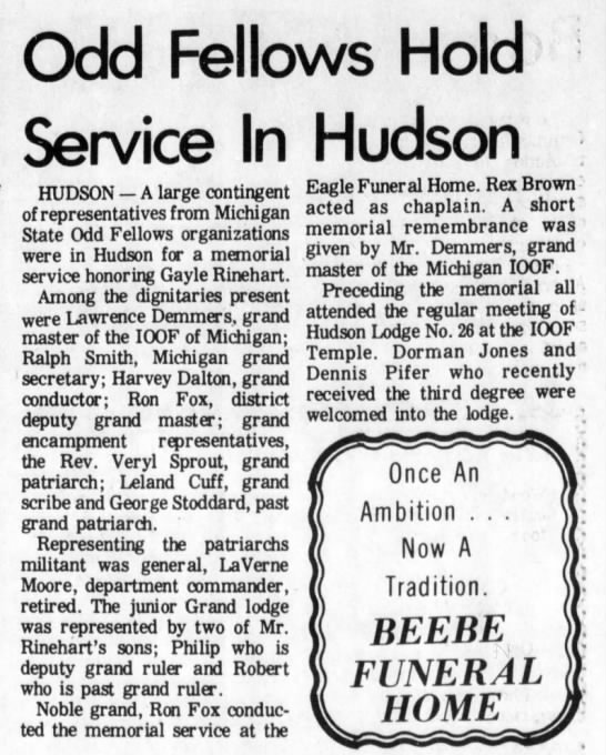 21 Feb 1973 - odd Fellows Hold Service In Hudson HUDSON — A...