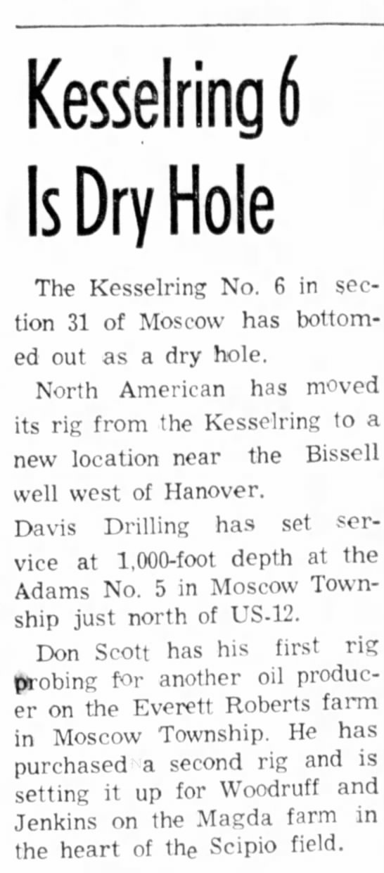 """Kesselring Moscow """"Dry Hole""""  Hillsdale Daily News 23 July 1964"""