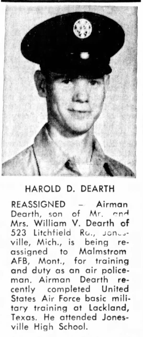 Harold D Dearth reassignment - HAROLD D. DEARTH REASSIGNED - Airman Dearth,...