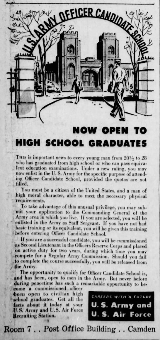 U.S. Army Officer Candidate School 22 June 1948 - NOW OPEN TO HIGH SCHOOL GRADUATES Till-» i>...