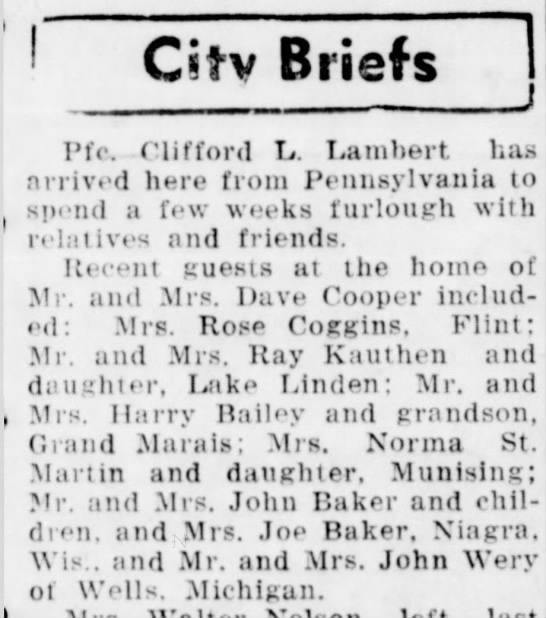 Recent Guests at home of Mr. and Mrs. Dave Cooper - C«tv Briefs Pfc. Clifford L. Lambert has...