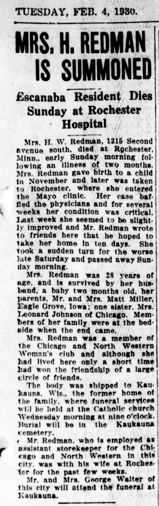 Regina Redman - TUESDAY, KEB. 4, 1930. MRS. H. REDMAN IS...