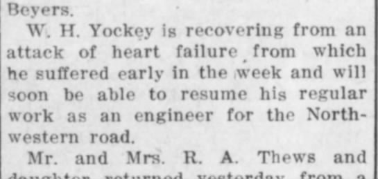 William Yockey 4 Jan 1914, Sun pg 6 - Beyers. W. H. Yockey is recovering from an...